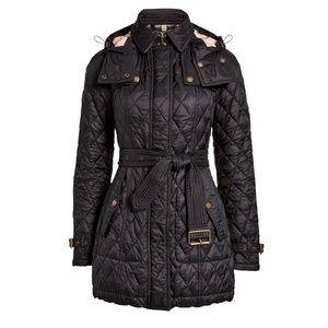 Burberry Long Finsbridge Belted Quilted Hood Coat